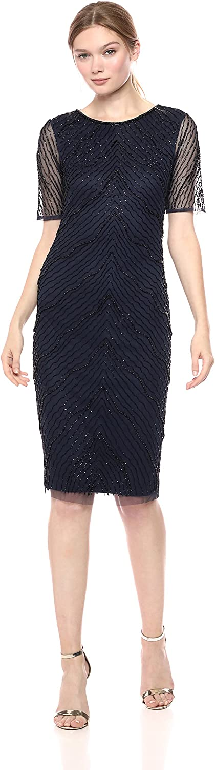 Adrianna Papell Womens New Deco Beaded Sheath Dress with Elbow Sleeves Special Occasion Dress