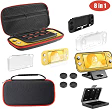 Diswoe Switch Lite Accessories Kit (8-in-1), Accessories bundle for Nintendo Switch Lite 2019, Complete Starter with Portable & Protective Carrying Case, Glass film+Card Storage and Joystick Caps