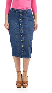 ESTEEZ Women's Denim Midi Tube Skirt - Button Down - Below Knee - Seattle
