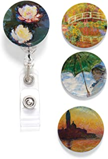 Buttonsmith Monet Water Lilies Tinker Reel Retractable Badge Reel - with Pin Back and Extra-Long 36 inch Standard Duty Cor...