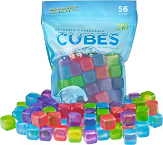 Urban Essentials Reusable Ice Cubes - Quick Freeze Colorful Plastic Square Icecubes With Resealable Bag Assorted Colors Pa...