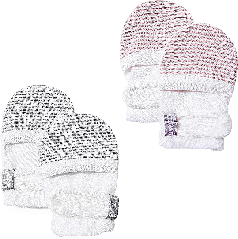 HAPIU Baby No Scratch Mittens 100/% Cotton Adjustable Newborn Baby Mittens