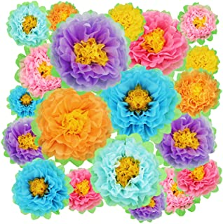 18 Pieces Colorful Fiesta Paper Flowers Fiesta Hanging Paper Pom Carnival Tissue Paper Flower Carnival Paper Pom Flowers F...