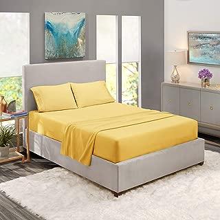 King Sheets - Bed Sheets King Size – Deep Pocket Hotel Sheets – Cool Sheets - Luxury 1800 Sheets Hotel Bedding Microfiber Sheets - Soft Sheets – King - Custard Mallow Yellow