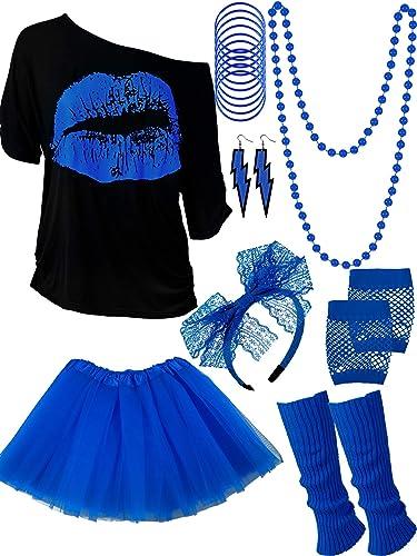 Ensemble d'Accessoires de Costume des Années 80, T-Shirt Tutu Bandeau Boucles d'oreilles Collier Jambières (Bleu Roya...