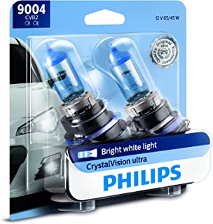 Philips 9004 CrystalVision Ultra Upgrade Bright White Headlight Bulb, 2 Pack