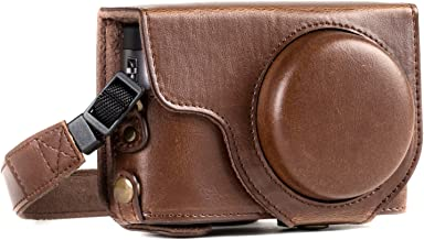 MegaGear MG1259 Ever Ready Leather Camera Case compatible with Panasonic Lumix DC-ZS80, DC-ZS70, DC-TZ95, DC-TZ90 - Dark Brown