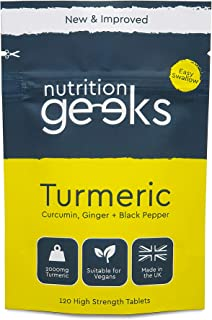 Turmeric Tablets 2000mg with Black Pepper & Ginger   120 High Strength Curcumin Supplements   Turmeric and Black Pepper Ta...