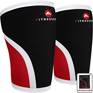 Fitnessery Knee Sleeves for Crossfit, Powerlifting, Weightlifting and Knee Support - 7mm Knee Sleeves - Knee Sleeves Crossfit - Knee Sleeves Powerlifting - Knee Compression Sleeve x 2