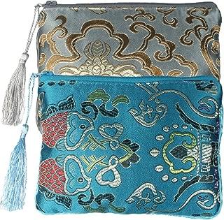 Chinese Silk Brocade Padded Tassel Zipper Jewelry Pouch Bag, Set of 2