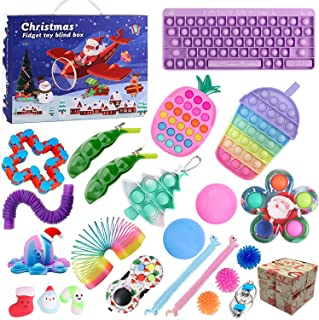 QASIMOF Adventskalender 2021 jul, barn, choklad, fidget leksak paket, fidgetset 24 st hängande prydnader, adventskalender ...