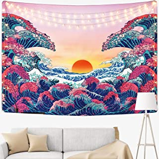 OuMuaMua Tapestry Wall Hanging Nature Landscape-Tapestry King, Sunset and Ocean Wave Beach Blanket for Living Room Bedroom Dorm Decor