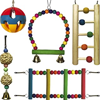 Parrot Toy Set – Hanging Parrot Swing – Wooden and Metal Parrot Swing – Medium Small Parrot Swing Toy – Bird Cage Chew Toy Set – Parrot Ladder – Wooden Parrot Toys Set – Bird Bell Toy