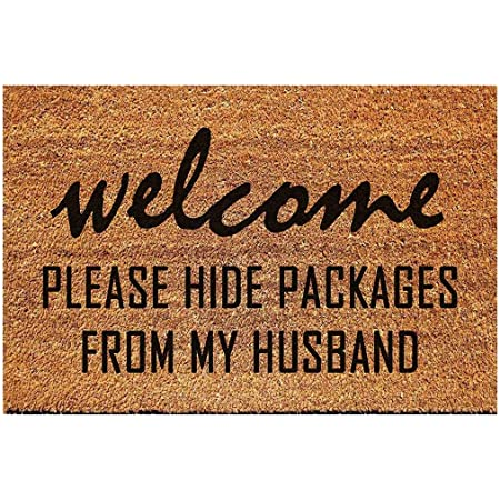 FAGGMY Funny Please Hide Packages from My Husband Entryway Outdoor Floor Mat with Heavy-Duty PVC Backing Non Slip Cursive Natural Coconut Coir Brown Mat with Black Font 23.7 x 15.7 inch