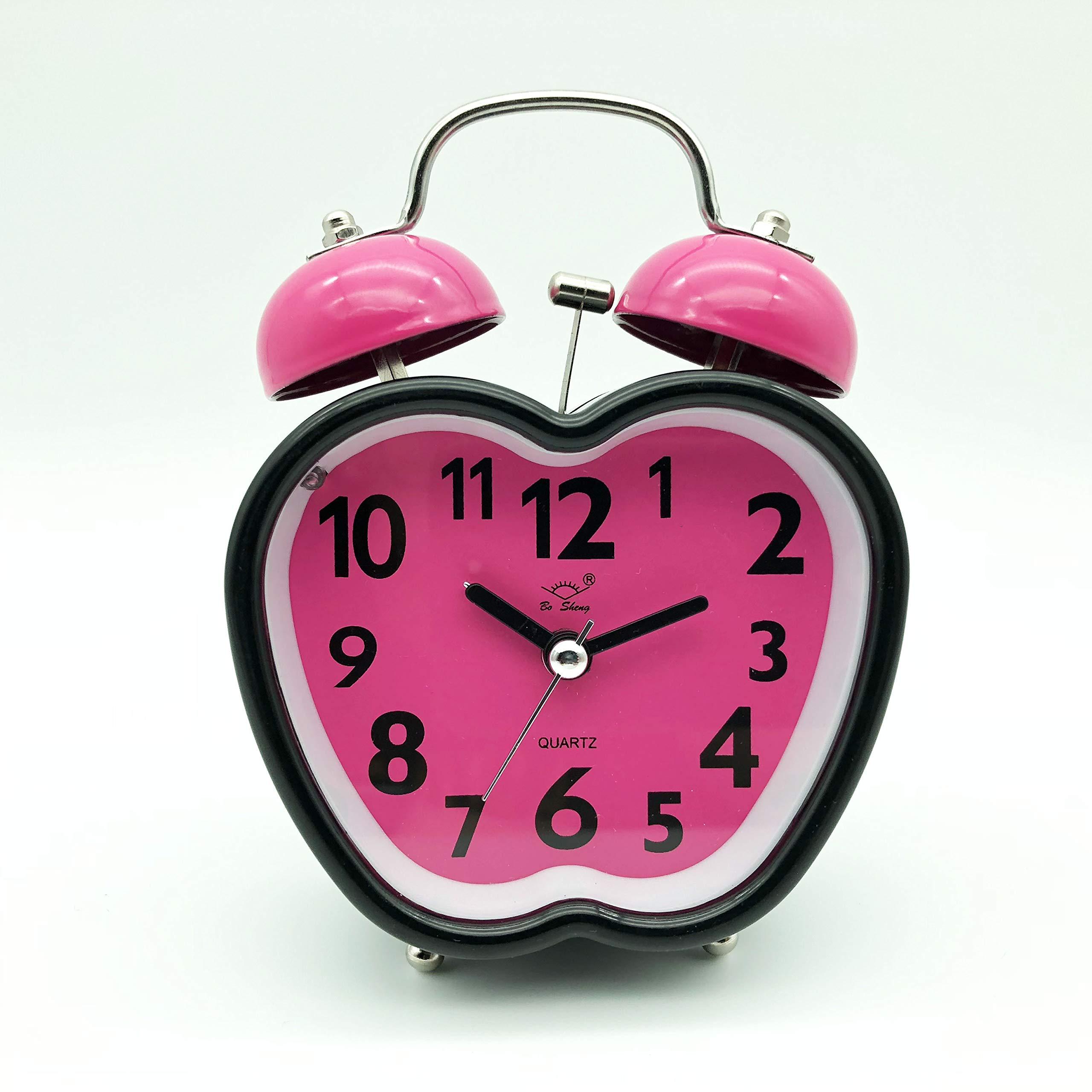 Non ticchettio con Luce Notturna per Bambini Rosa Camera da Letto VORCOOL Sveglia a Doppia Campana a Forma di Cuore Ragazze Sveglia