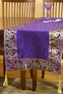 Banarsi Designs Hand Embroidered Table Runner (Plum Purple, 72