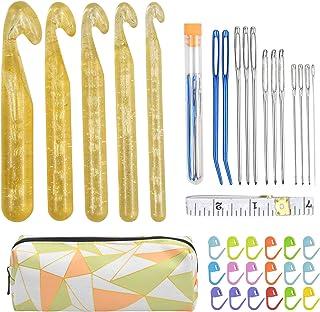 Ensemble de Aiguilles à Crochet Grande Taille 12-25mm Kit de Aiguilles à Crochet en Plastique Aiguilles à Crochet Set Kit ...