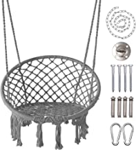 """LAZZO Hammock Chair Hanging Knitted Mesh Cotton Rope Macrame Swing, 260 Pounds Capacity, 23.6"""" Seat Width,for Bedroom, Out..."""