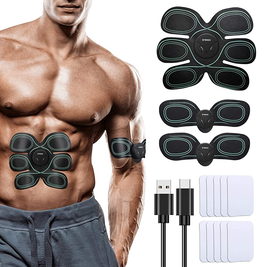 スクレーパーホームブリードGWM マッスル刺激マッサージャー、EMS ABSトレーナー、腹部筋肉トナーベルトセット、USB充電式フィットネストレーニングアームの脚腹部背中ウエストエクササイズマシン、ユニセックス8モード