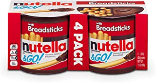 Nutella and Go Snack Packs, Chocolate Hazelnut Spread with Breadsticks, 1.9 oz, 4 Pack