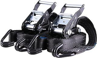 2 x spanriemen, spanriemen, tot 2000 kg, 35 mm breed, tweedelig, 4 m of 6 m, zwart met reflecterende strepen. 6m zwart