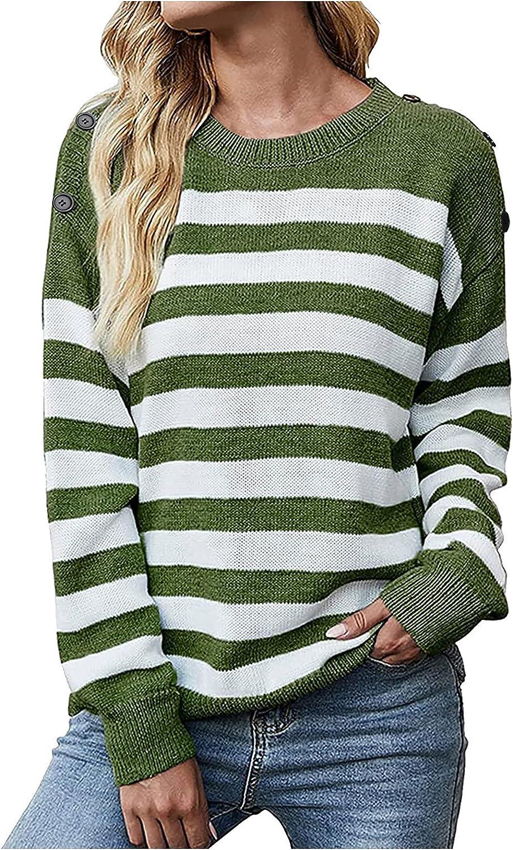 Women's Stripe Loose Knitted Blouse Shape Print Long Sleeve O-Neck Sweater