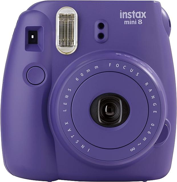Fujifilm Instax Mini 8 - Cámara analógica instantánea (flash velocidad de obturación fija de 1/60 s) color violeta