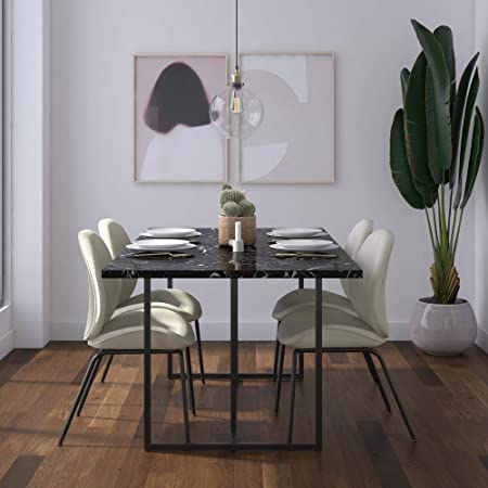Cosmoliving By Cosmopolitan Cosmoliving Edith Rectangular Black Faux Marble Base Dining Table Furniture Decor
