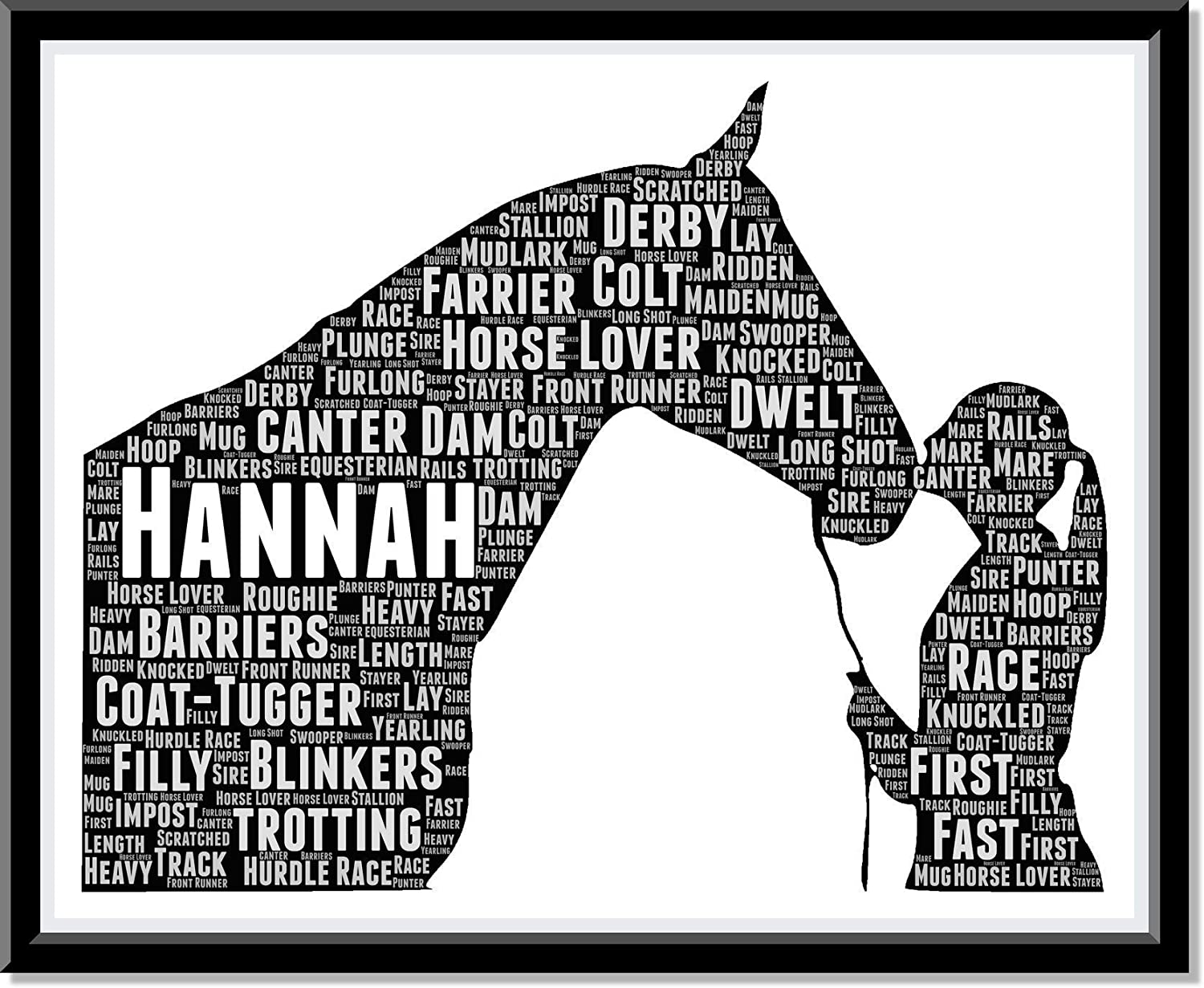 Product Gift for Horse Lover Typography Personalized Word and Print Art supreme