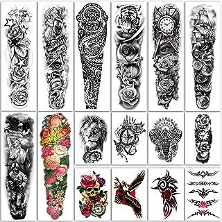 Yazhiji 16 Vellen Extra Grote Tijdelijke Tattoos 8 Vellen Volledige Arm Fake Tattoos en 8 Vellen Half Arm Tattoo Stickers ...