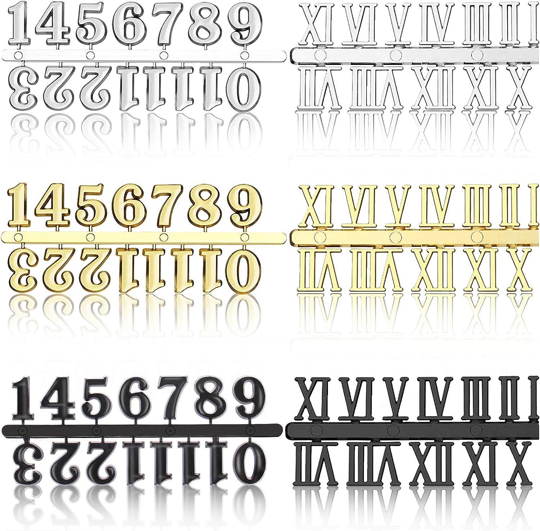 6 Pcs Max mart 87% OFF Clock Numerals Kit DIY Numeral Silver Black Roman Go