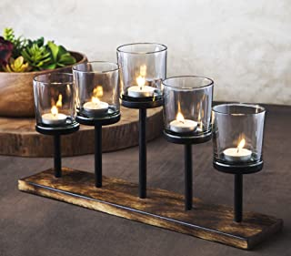 Le'raze Elegant Decorative Votive Candle Holder Centerpiece, 5 Glass Votive Cups On Wood Base/Tray for Wedding, Decoration, Dining Table.