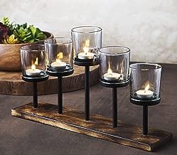 Le'raze Elegant Decorative Votive Candle Holder Centerpiece, 5 Glass Votive Cups On Wood Base/Tray for Wedding, Decoration, Dining Table.