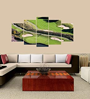 XINGAKA Premium Quality XINGAKAed Wall 5 Pieces / 5 Pannel Wall Decor Montreal South-Shore Golf Course Painting, Home Decor Pictures - with Wooden Frame