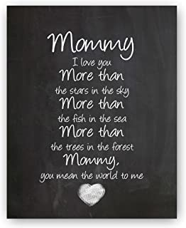 "Ocean Drop Designs - ""Mommy"" Chalkboard Style Typography Art Print - Print ONLY - Perfect Mother's Day Gift (8""x10"")"