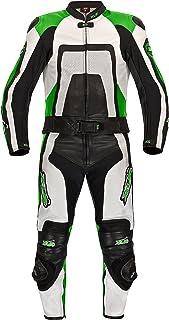XLS Lederkombi zweiteilig Kawa Grün Schwarz weiß hochwertiger Zweiteiler