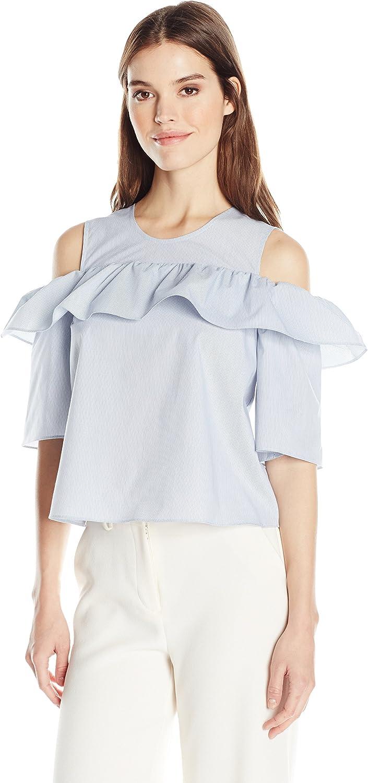 BCBGeneration Womens Cold Shoulder Ruffle Dress TShirt