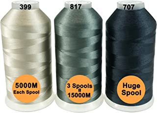 New brothreads -28 Options- Various Assorted Color Packs of Polyester Embroidery Machine Thread Huge Spool 5000M for All Embroidery Machines - Different Grays