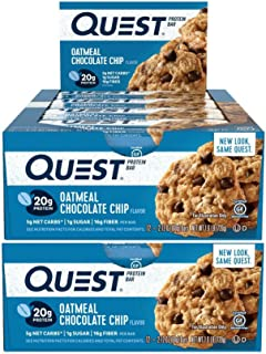 Quest Nutrition Protein Bar Oatmeal Choco Chip. Low Carb Meal Replacement Bar with 20 + Grams of Protein. High Fiber, Gluten-Free (24 Count)
