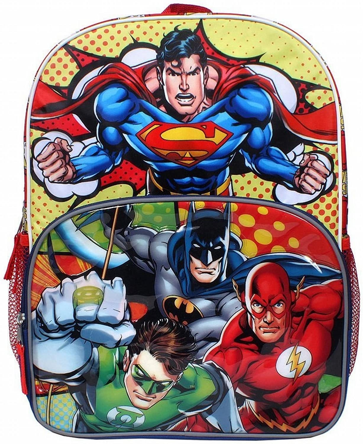 DC Comics Justice League Superman, Batman, Flash and The Green Lantern 16 inch Backpack with Side Mesh Pockets