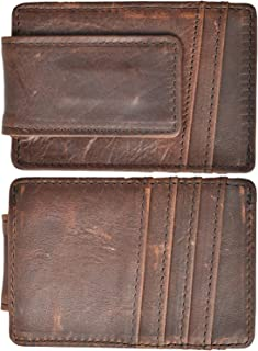 Money Clip RFID Front Pocket Wallet Men Leather Slim Minimalist Wallet