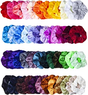 48 Pcs Girls Scrunchies for Hair, MOLYHUA Velvet Elastic Hair Scrunchies Hair Bands Scrunchy Hair Ties Ropes for Women or Girls Hair Accessories - 48 Assorted Colors Scrunchies