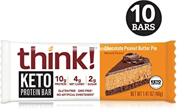 think! Keto Protein Bars - Chocolate Peanut Butter Pie, 10g Protein, 4g Net Carbs, 2g Sugar, No Artificial Sweeteners, Gluten Free, GMO Free, Keto Certified, 1.4 oz bar (10 Count)