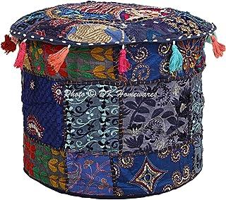 DK Homewares Housse pour Pouf Rond Traditionnel Blue Patchwork Tabouret de Salon en Coton brodé Pouf Pouf décoratif Repos...