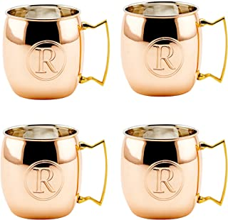 Old Dutch International Solid Moscow Mule Mug, 16-Ounce, Monogrammed R, Copper, Set of 4