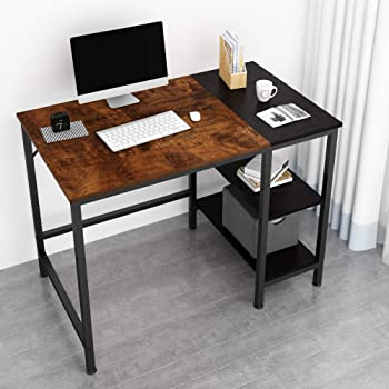JOISCOPE Home Office Computer Desk,Small Study Writing Desk with Wooden Storage Shelf,2-Tier Industrial Morden Laptop Table with Splice Board,40 inches(Vintage Oak Finish)