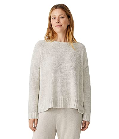Eileen Fisher Crew Neck Box Sweater in Peruvian Organic Cotton Boucle