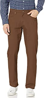 Amazon Essentials Men's Relaxed-Fit 5-Pocket Stretch Twill Pant, Brown, 36W x 31L