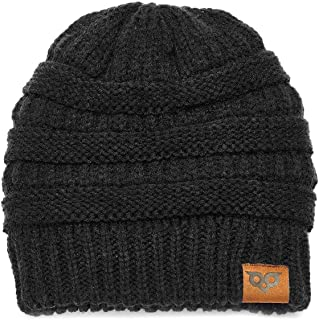 YOOWL Knits Beanie Hat Thick Soft Winter Unisex Hat Warm Stretch Ponytail Cable Fuzzy Lined Hat for Women & Men