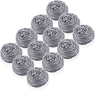 LURICO 12 Pack Stainless Steel Sponges, Stainless Steel Scrubber, Scrubbing Scouring Pad, Steel Wool Scrubber for Kitchens, Bathroom etc